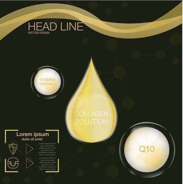 Коллаген на абстрактном фоне, высшая капля масла коллагена, косметический раствор, Premium векторы