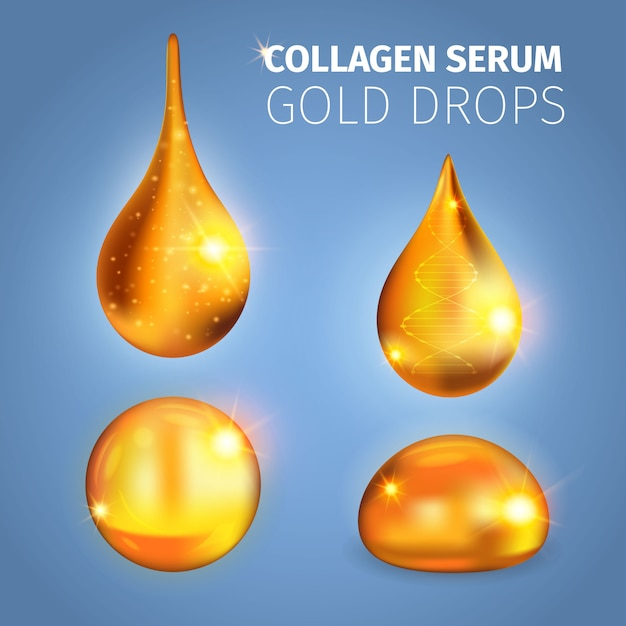 Collagen serum golden drops with shiny surface specks of light dna helix vector illustration Free Vector