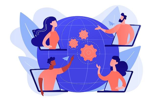 Деловая встреча коллег, интернет-трансляция компании. онлайн-встреча, присоединение к группе встреч, обслуживание веб-сайта встреч, концепция лучшего общения здесь. розовый коралловый синий вектор изолированных иллюстрация Бесплатные векторы