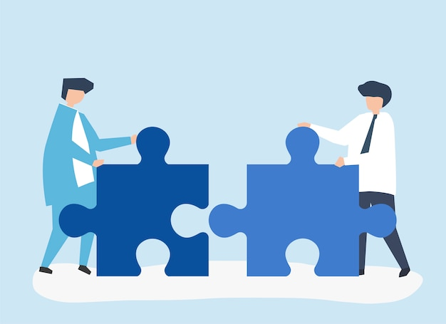 Colleagues connecting jigsaw pieces together Free Vector