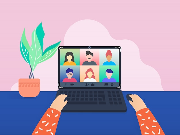 Colleagues talk to each other through video call. Premium Vector