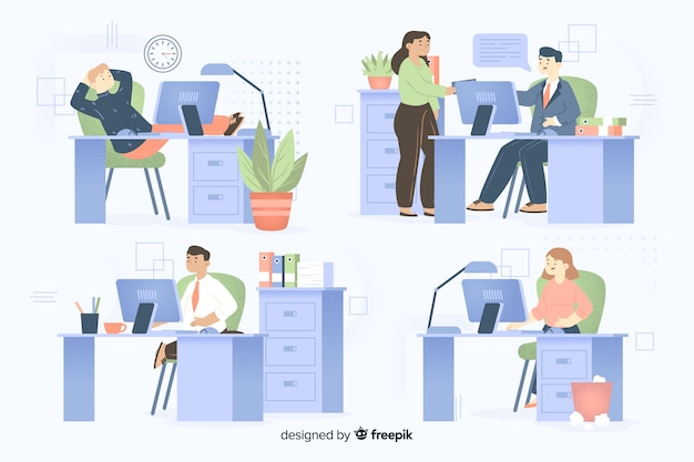 Colleagues working together collection Free Vector