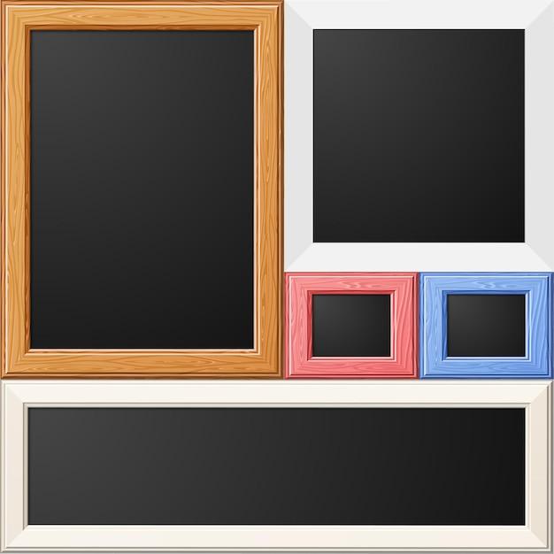 写真や写真の木製と紙のフレームを収集します Premiumベクター