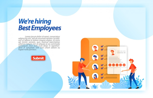 Collect worker personal data or job seeker resumes to recruiting best prospective employees. we're hiring. landing page web template Premium Vector