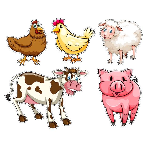 Сельскохозяйственные животные collecti Бесплатные векторы