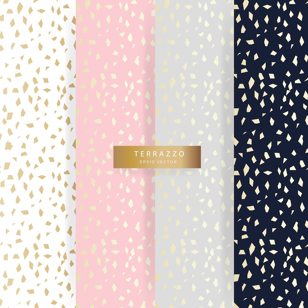 Collecting patterns smoothly in terrazzo style, refined abstract gold and pastel. Premium Vector