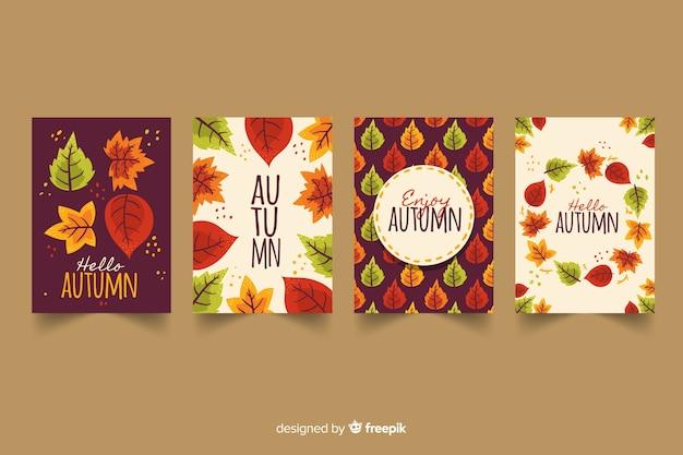 手描き秋カードcollectio 無料ベクター