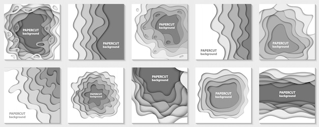 Collection of 10 backgrounds with white paper cut Premium Vector