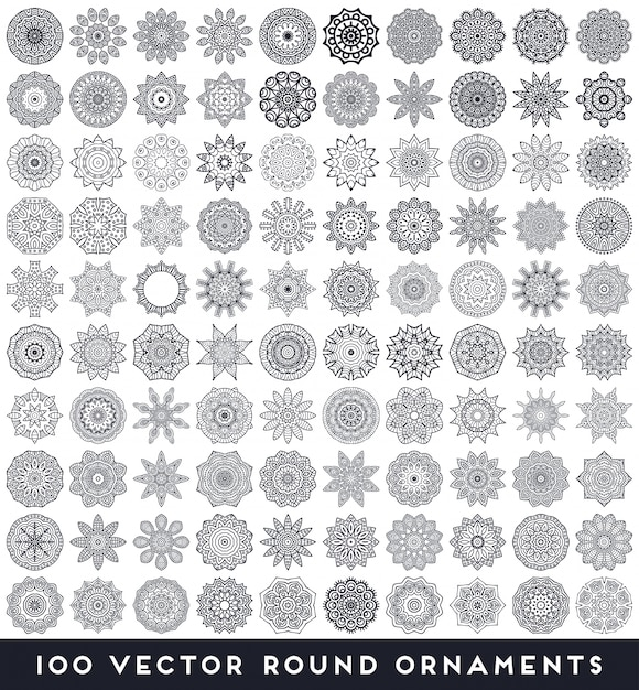 Collection of 100 round ornaments Free Vector
