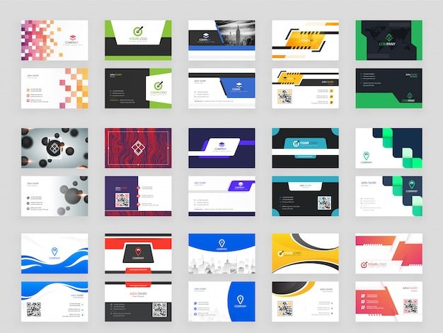 Collection of 15 modern horizontal business card Premium Vector