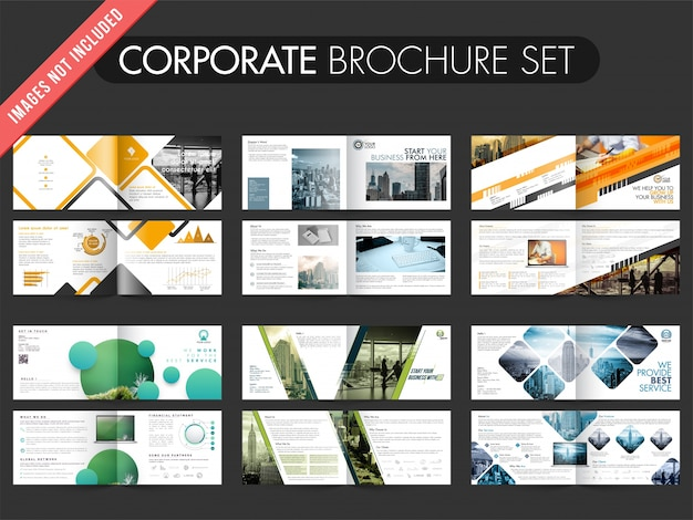 Collection of 6� brochures with four pages design template. Premium Vector