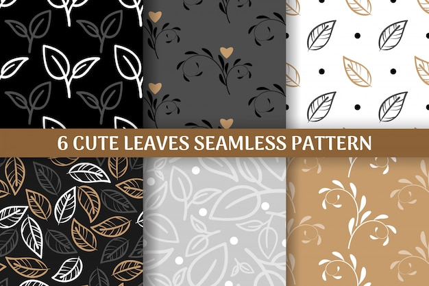 Collection of 6 cute leaves seamless pattern. Premium Vector