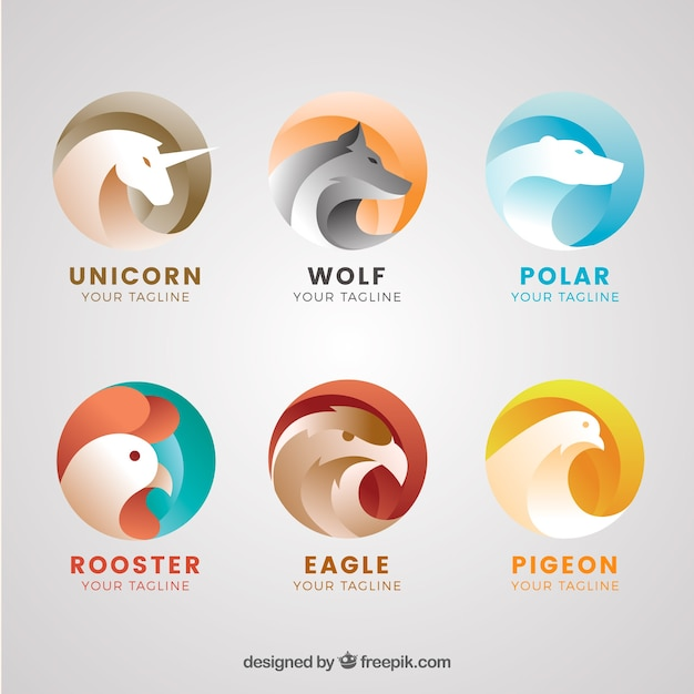 Collection of abstract animal logo Free Vector