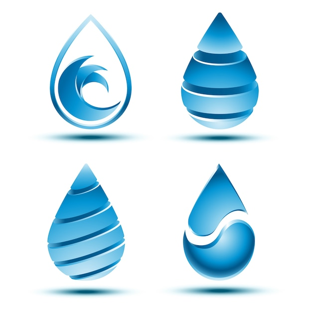 Collection of abstract blue water drop logo  with shadow on white background. Premium Vector