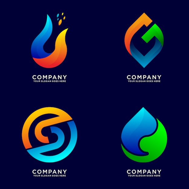 Collection of abstract business logo Premium Vector