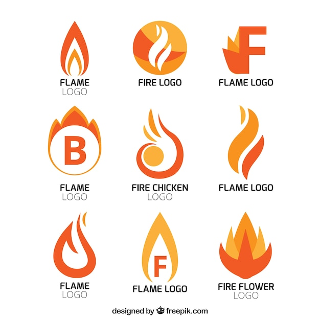 Collection of abstract flame logos Free Vector