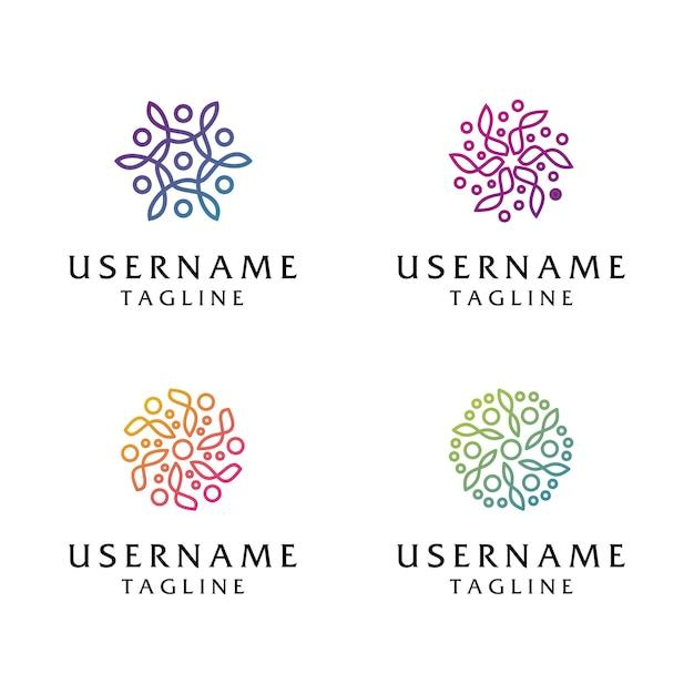 コレクション抽象花ロゴ、美容、ファッション、サロン、スパ、ヨガのロゴのテンプレートに使用できます Premiumベクター