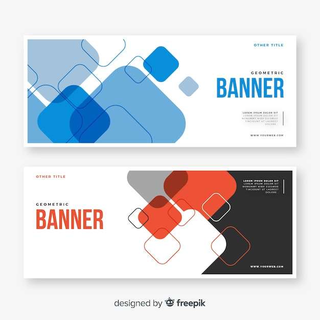 Collection of abstract geometric banners Free Vector
