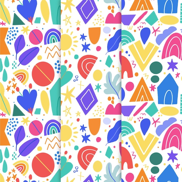 Collection of abstract hand drawn pattern Free Vector