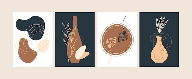 Collection of abstract modern botanical posters vector flat illustration Premium Vector