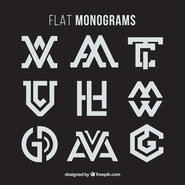 Collection of abstract monogram Free Vector