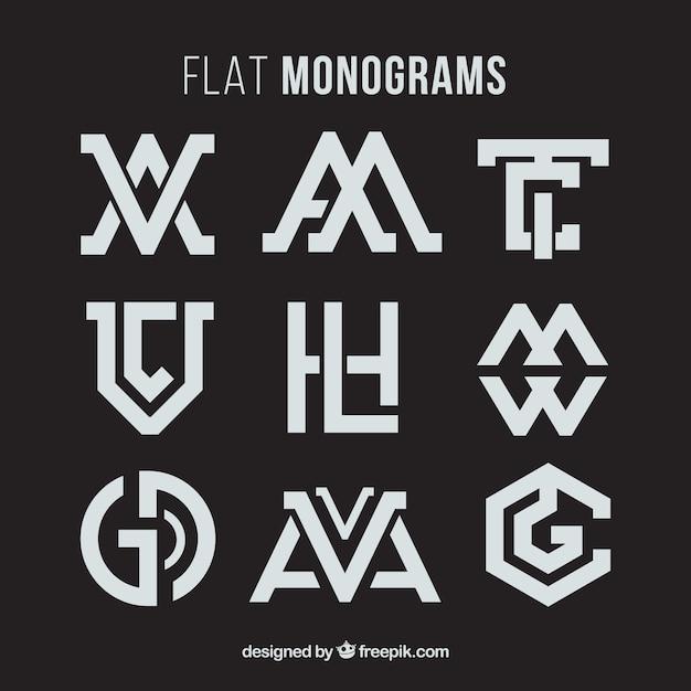 Raccolta di monogramma astratto Vettore gratuito