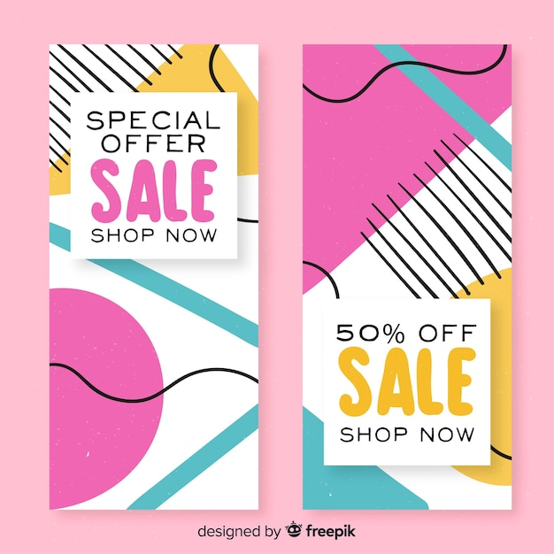 Collection of abstract sale banner for social media Free Vector