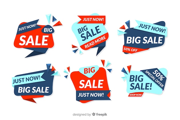 Collection of abstract sales banner design Free Vector