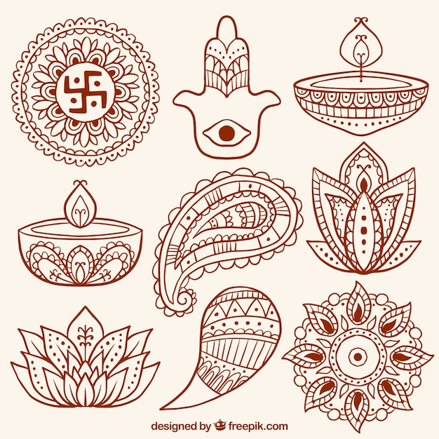 Collection of abstract shapes and diwali ornamental candles Free Vector