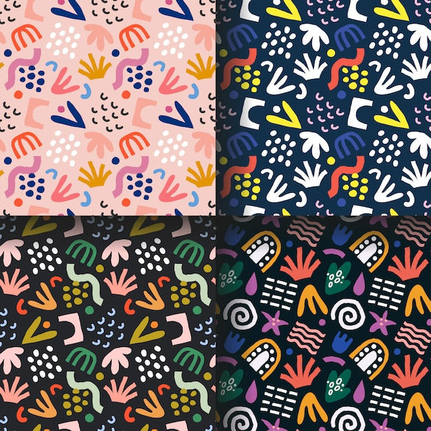 Collection of abstract tropical patterns Premium Vector