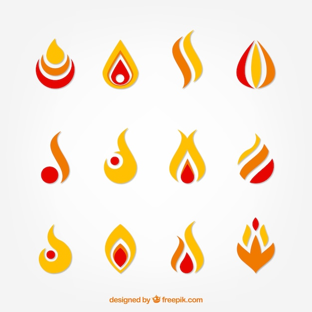 Collection of abstract useful flames for logos Free Vector