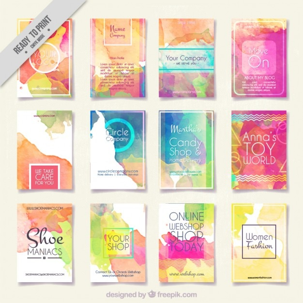 Collection of abstract watercolor flyer Free Vector