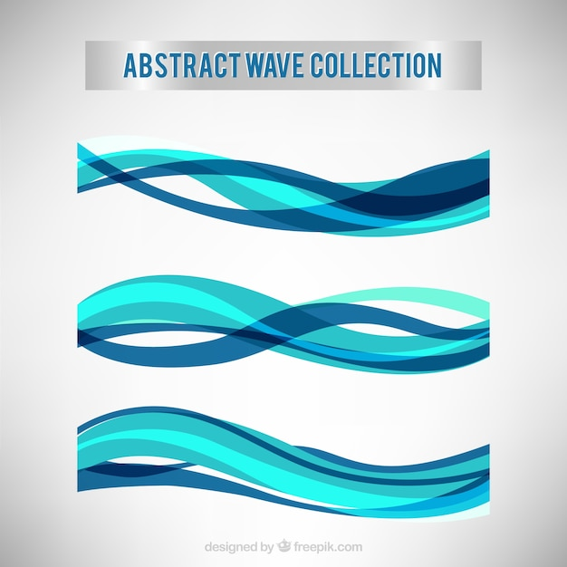 Collection of abstract waves in blue tones Free Vector