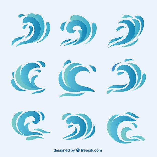 Collection of abstract waves Free Vector