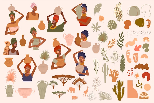 Collection of abstract women portraits, ceramic vase, jugs, bowls, tropical plants, palm leaf, cactus, animal silhouette, abstract hand draw shapes. Premium Vector