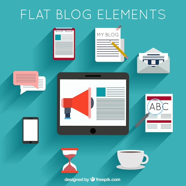 Collection of accessories for blog in flat design Free Vector