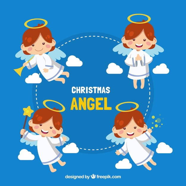 Collection of adorable angel in different postures Free Vector