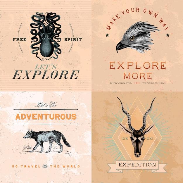 Collection of adventure logo design vectors Free Vector