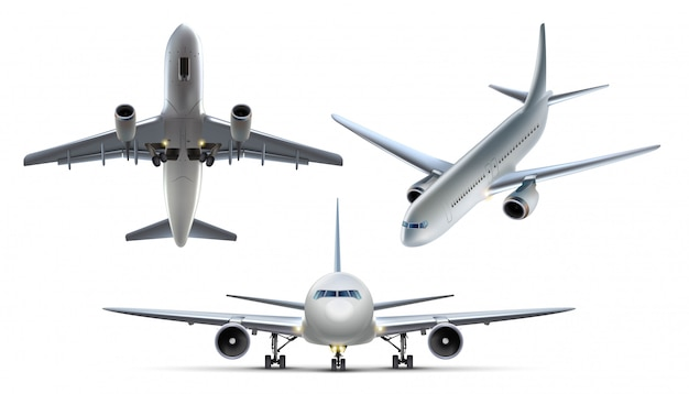 Collection of air plains. isolated on white background, top view, side view and front view. Premium Vector