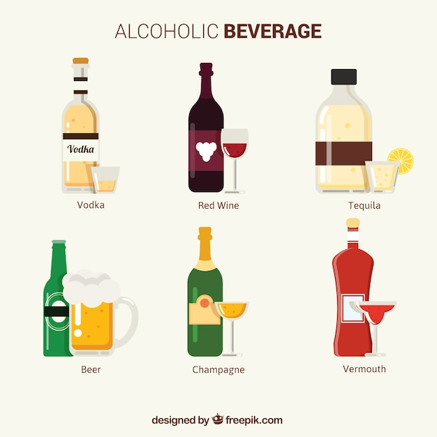 Collection of alcoholic beverages Free Vector
