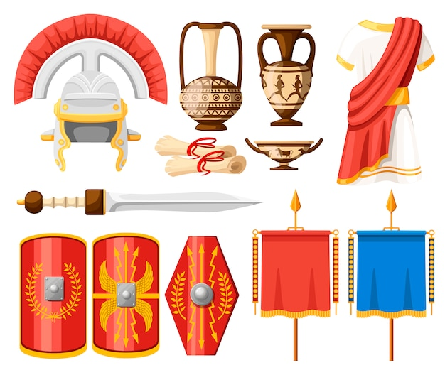 Collection of ancient roman icons. clothes, gladius, scutum, scrolls and ceramic tableware.   illustrator  on white background Premium Vector