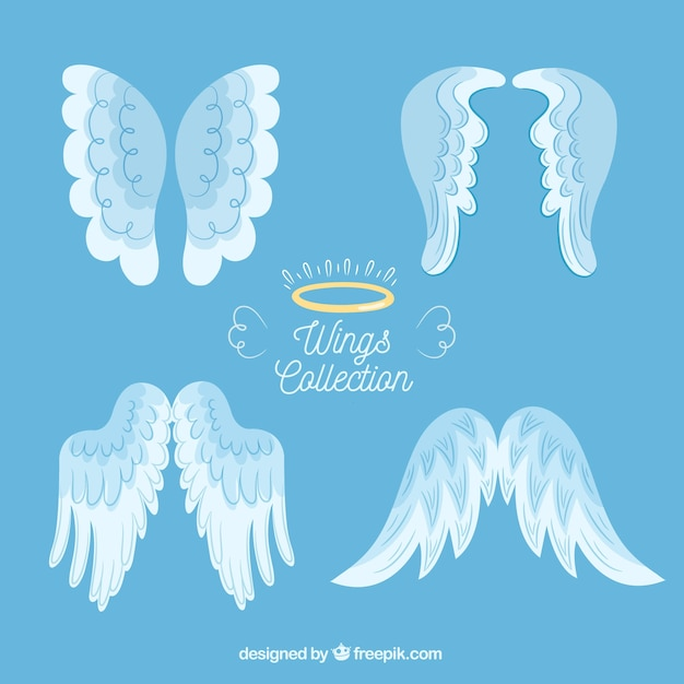 Collection of angel wings Premium Vector