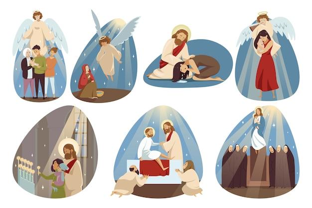 Угол собрания иисус христит, сын бога мария девственница Premium векторы
