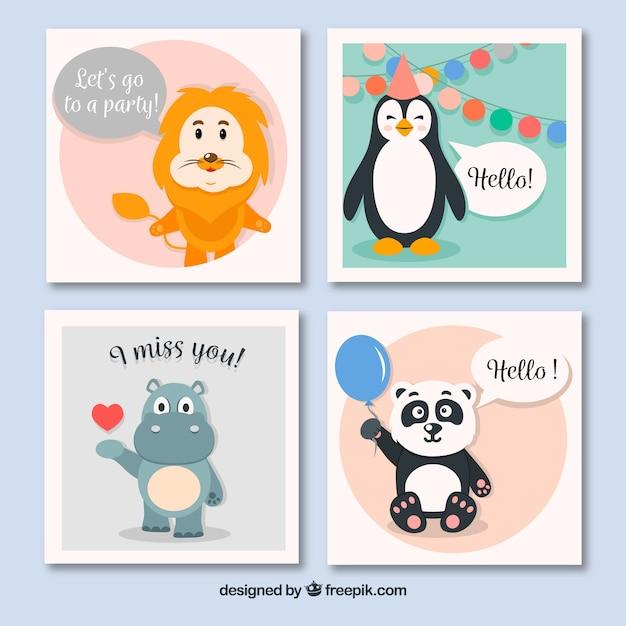 Raccolta di carte animali con stile divertente Vettore gratuito
