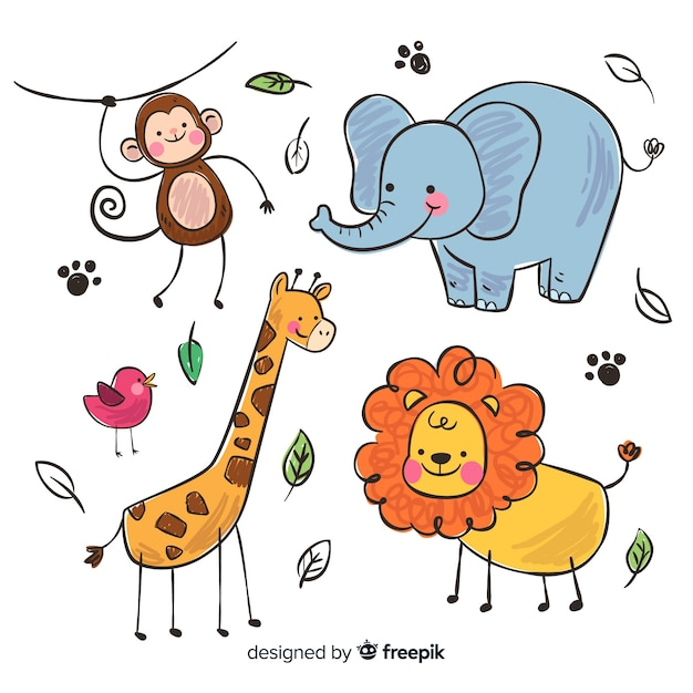 Collection of animals in children's style Free Vector