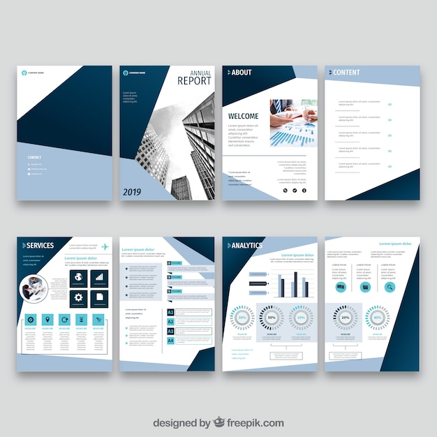 Collection of annual report cover templates Free Vector