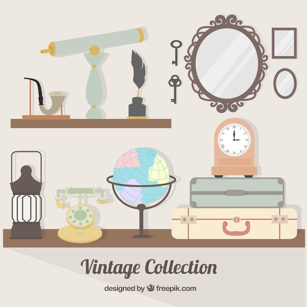 Collection of antique object Free Vector