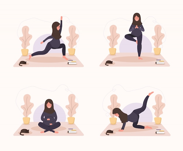 건강 한 라이프 스타일과 휴식을 갖는 요가 하 고 컬렉션 아랍 임산부. 소녀들을위한 번들 운동. 플랫 스타일의 현대 그림. 흰색 배경에 행복 임신 개념입니다. 프리미엄 벡터