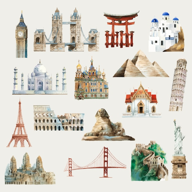 Collection of architectural landmarks around the world watercolor illustration Free Vector