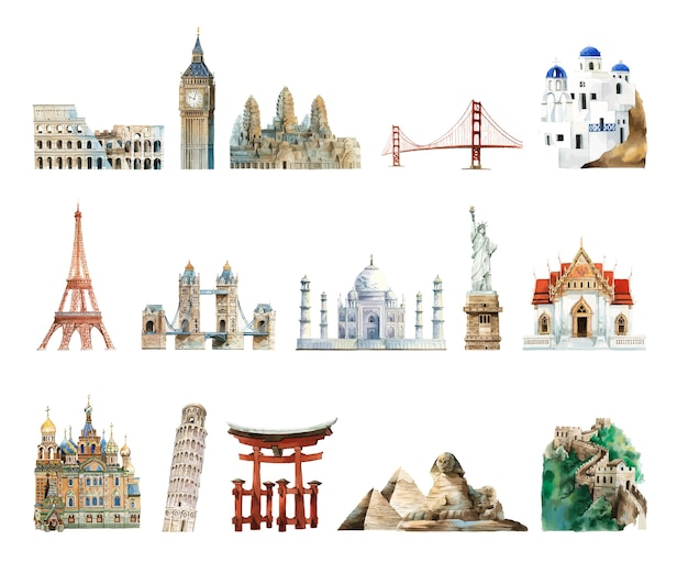 Collection of architectural landmarks painted by watercolor Free Vector